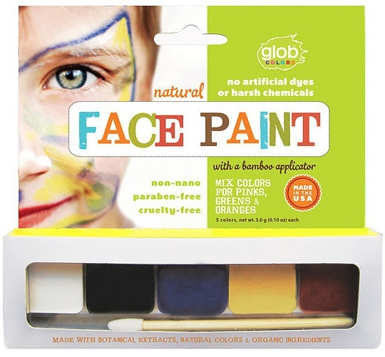 Glob natural face paint 5 colours applicator for Eco friendly colours for painting