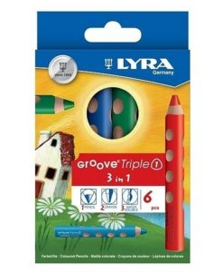 Lyra Groove Triple 1 Watercolour Pencils & Bonus Sharpener (pack of 6 colours)