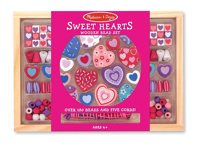 Melissa Doug Sweet Hearts Wooden Bead Set
